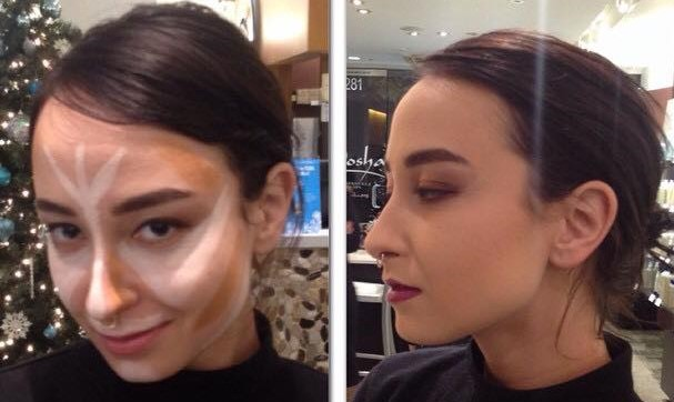 makeup, contour, before after, evening, complexion