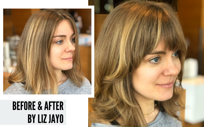 A before and after photo of a shag haircut by Liz Jayo.