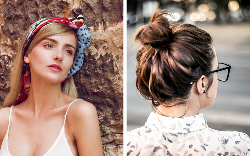 two different hairstyles for at home beauty tricks. One girl with a colorful head scarf and another with a high messy bun and glasses.