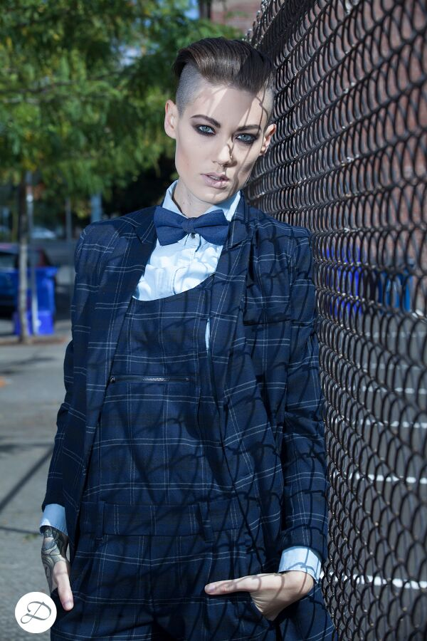women suits, plaid suit, androgenous, mohawk hair, smokey eyes