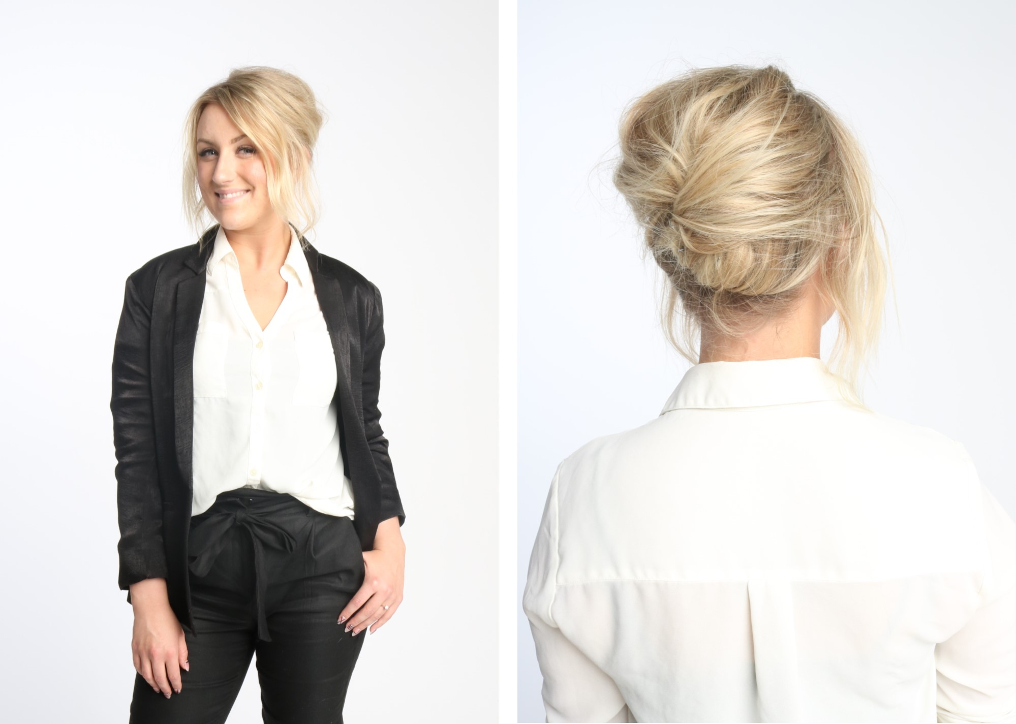 hannah, chignon, stylist, master, aveda, professional, office, hair, hairstyle, step by step