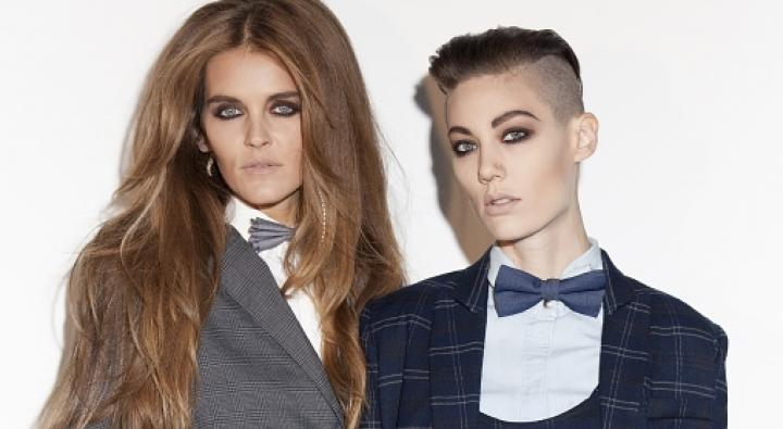 Plaid Suits, androgynous model, smokey eyes