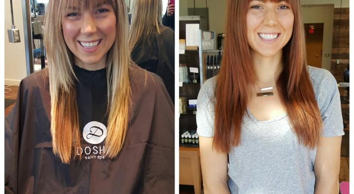 Blonde to red haircolor, before & after, dosha