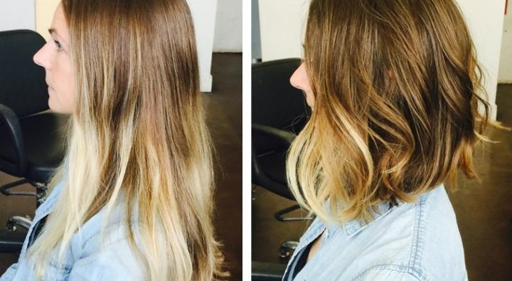 Ombre hair color, concave haircut, lob