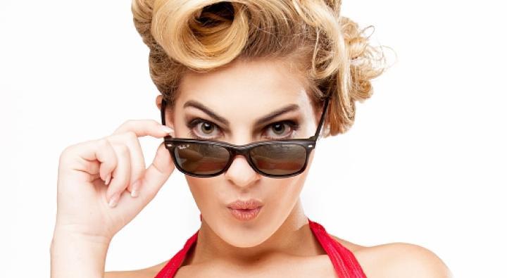 Popina Swimwear, Retro Red Swimsuit, Black shades, Retro Hair, Red Lips