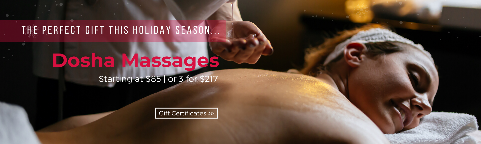 Dosha offers a variety of massages from swedish to deep tissue and sport to prenatal and hot stone. Give the perfect gift this holiday season and gift the gift of a dosha massage.