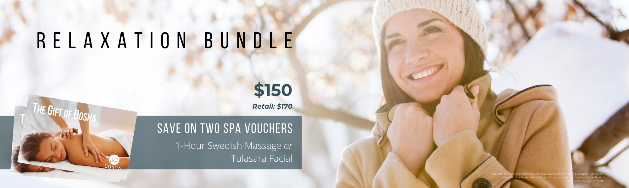 Gift the gift of dosha with our relaxation bundle for $150. Get your choice of two Tulasara facials or swedish massages. The perfect gift for anyone in your life.