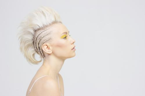 updo, blonde, mohawk, fauxhawk, braid, cornrow, yellow, makeup