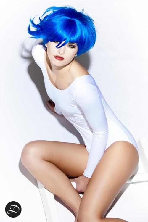 Colorful Wigs photo shoot blue short hair