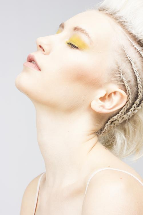 mohawk, fohawk, blonde, white, ash, edgy, braids, cornrows, yellow, hair, makeup