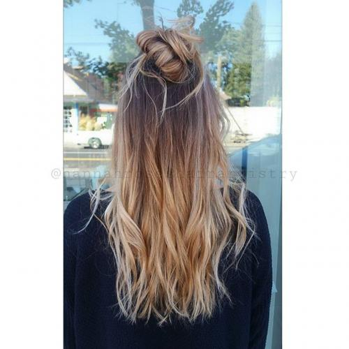 Top knot Ombre color Dosha Salon Spa