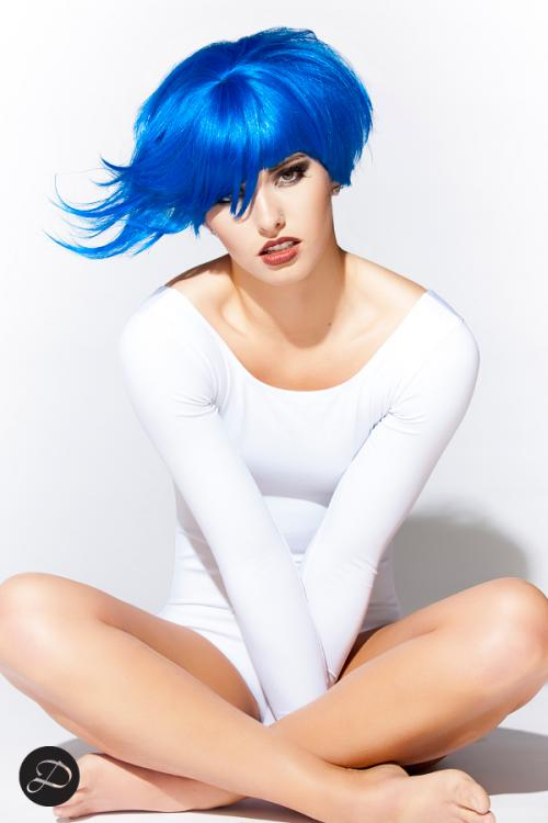 Colorful Wigs short blue white bodysuit