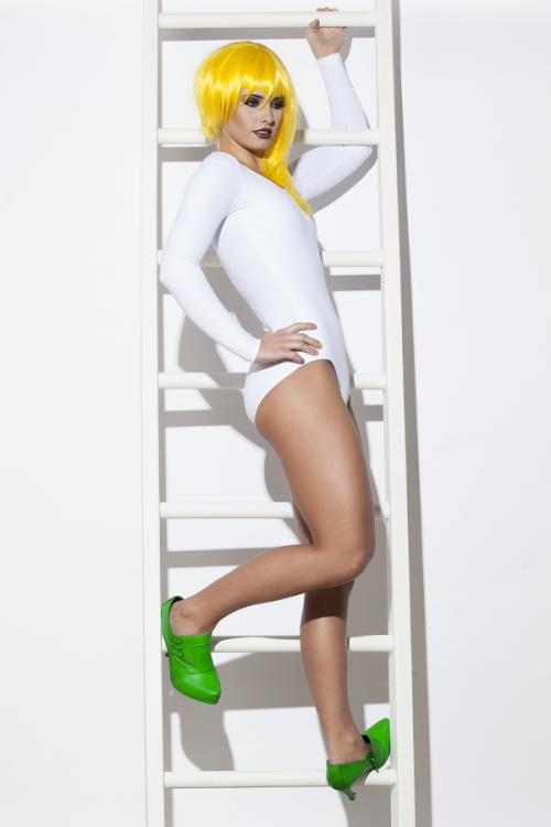 Colorful Wigs yello green shoes ladder white bodysuit