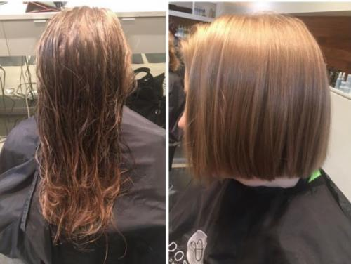 long hair cut Dosha Salon PDX Aveda