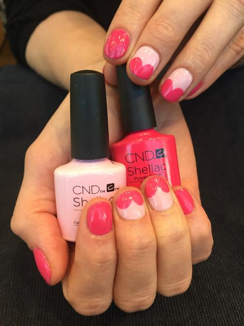 CND Nails Valentines day Manicure Polish Pink Hearts PDX Spa