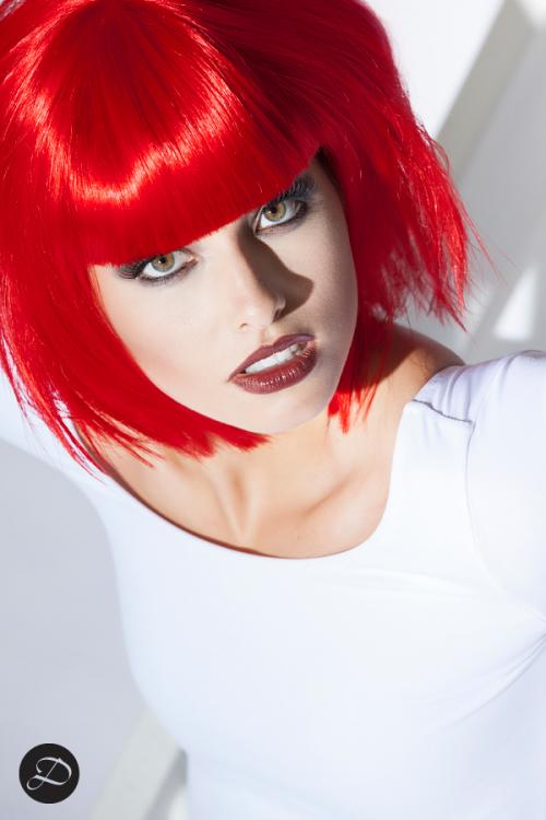 Colorful Wig photo-shoot red head-shot white bodysuit