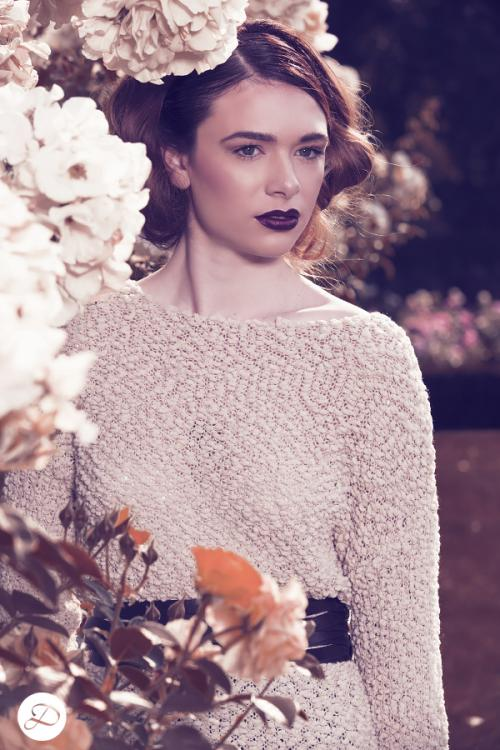 Dosha Creative Team Garden Photoshoot dark lips sweaters rose garden