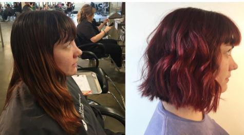 Dosha Salon Spa Hair, Soft Curl Wavy Texture Purple hair PDX