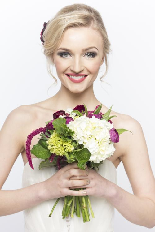 bridal, bride, wedding, updo, hair, hairstyle, flower, bouquet