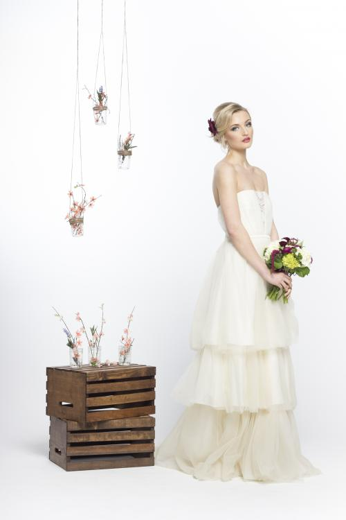 bridal, bride, wedding, updo, hair, hairstyle, flower, bouquet, wedding dress, hanging flowers