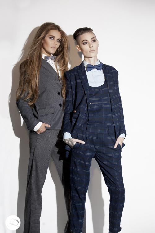 Dosha Creative Team Girly Man Photoshoot androgynous women undercut men's women's suits  big hair
