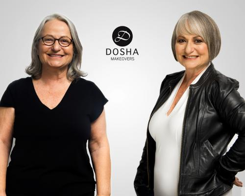 Dosha Creative team makeovers grey bob leather jacket cool grandma