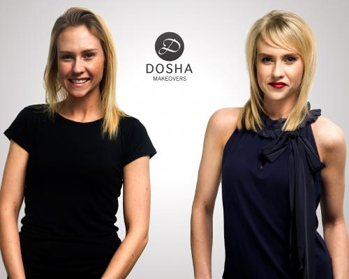Dosha Creative Team Makeover Photoshoot blond red lips