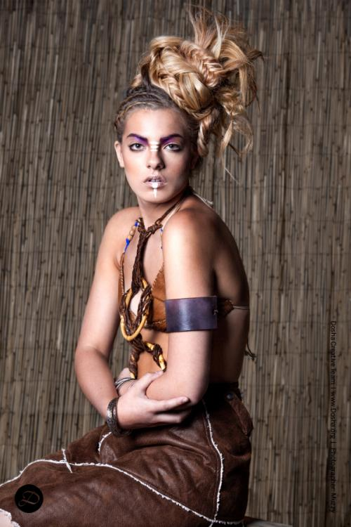 Modern Salon extensions Tribal braids updo leather
