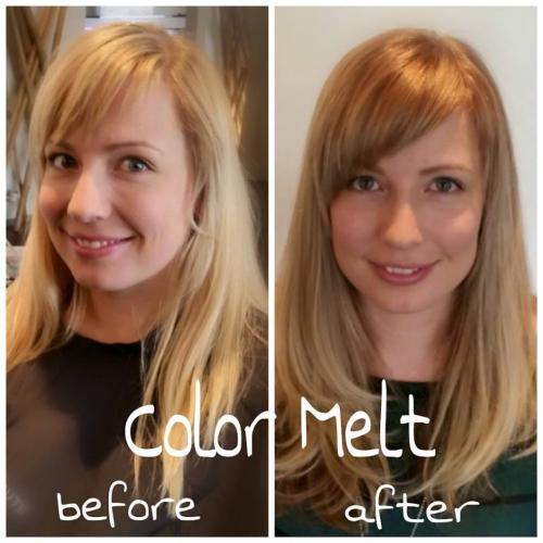 Before and after hair, color melt