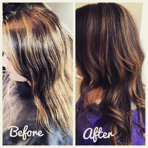 Dosha Salon Spa Before and after color model