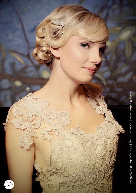 Dosha Bridal Elite Cocoon Silk Dress Giveaway Shoot Dax Mcmillan updo lace curls