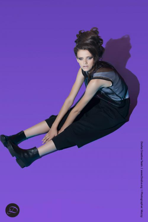 Dosha Creative Team Physical Elements Photoshoot Purple black ankle boots