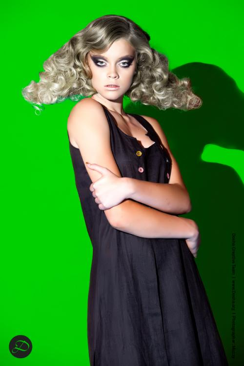 Dosha Creative Team Physical Elements Photoshoot green smokey eyes big blonde curls