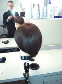 Precision haircut on mannequin head