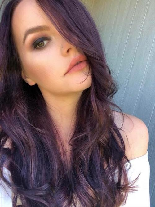 Girl with purple long hair style