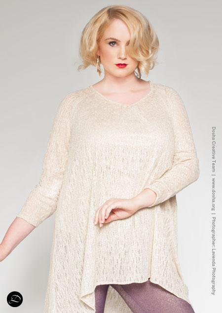 Portland Fashion Week Fall white sweater plus size model