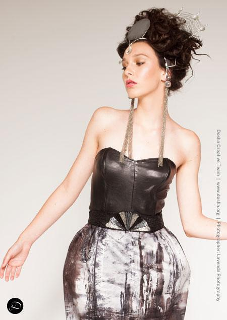 Portland Fashion Week Fall Wendy Ohlendorf Design metal crown up-do Egyptian goddess inspired