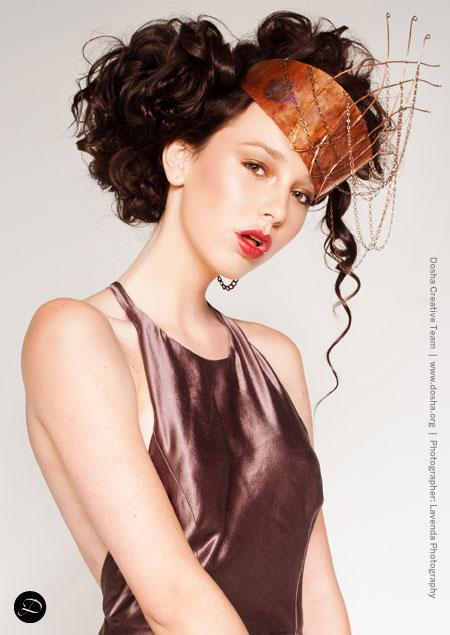 Portland Fashion Week Fall Wendy Ohlendorf Design metal crown up-do