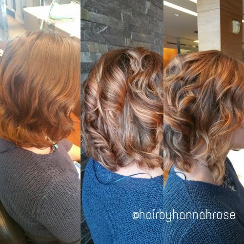 strawberry blonde color highlights, Dosha Salon, Aveda Color