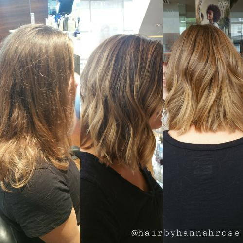 Brunette blonde haircolor & cut