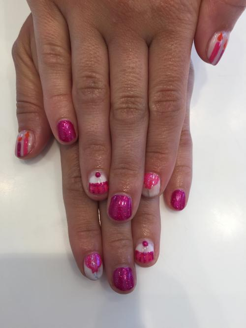 Cupcake nail Art Dosha Salon Spa