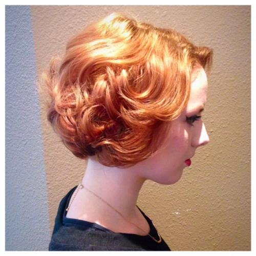 red hair, short hair updo, Dosha Salon