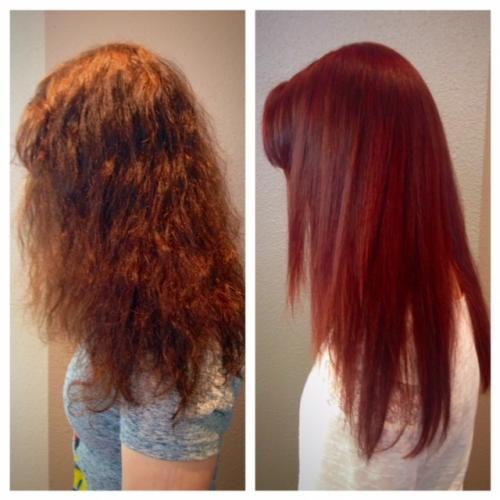 Long hair makeover model, Dosha Salon Spa, red hair