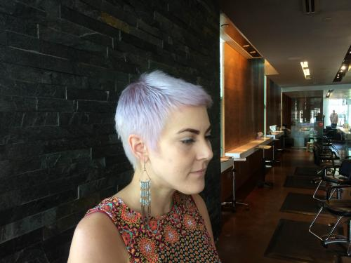 purple hair, pixie cut