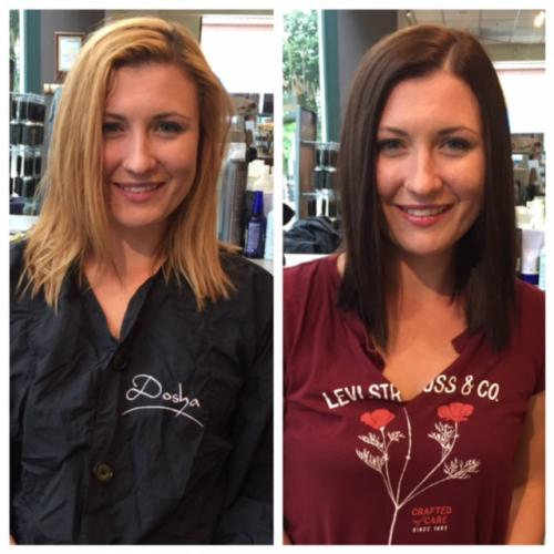blonde to brunette hair color, makeover, Dosha Salon