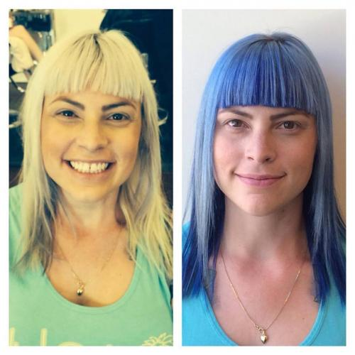 Before and after hair, blonde hair, blue hair