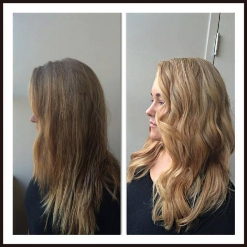 Before and after hair, brunette to blonde, dosha