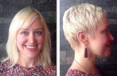Before and after, pixie haircut