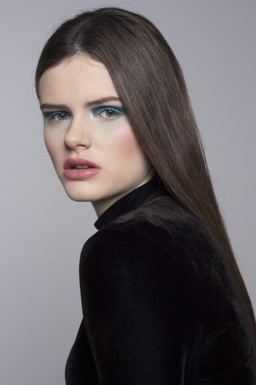 sleek, brunette, straight hair, blue eye shadow, makeup