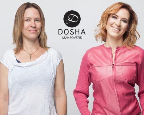 Dosha Creative Team Makeover Phototshoot pink leather jacket layers